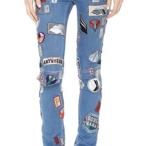 Phillip Lim Cargo Jeans with Patches in Blue